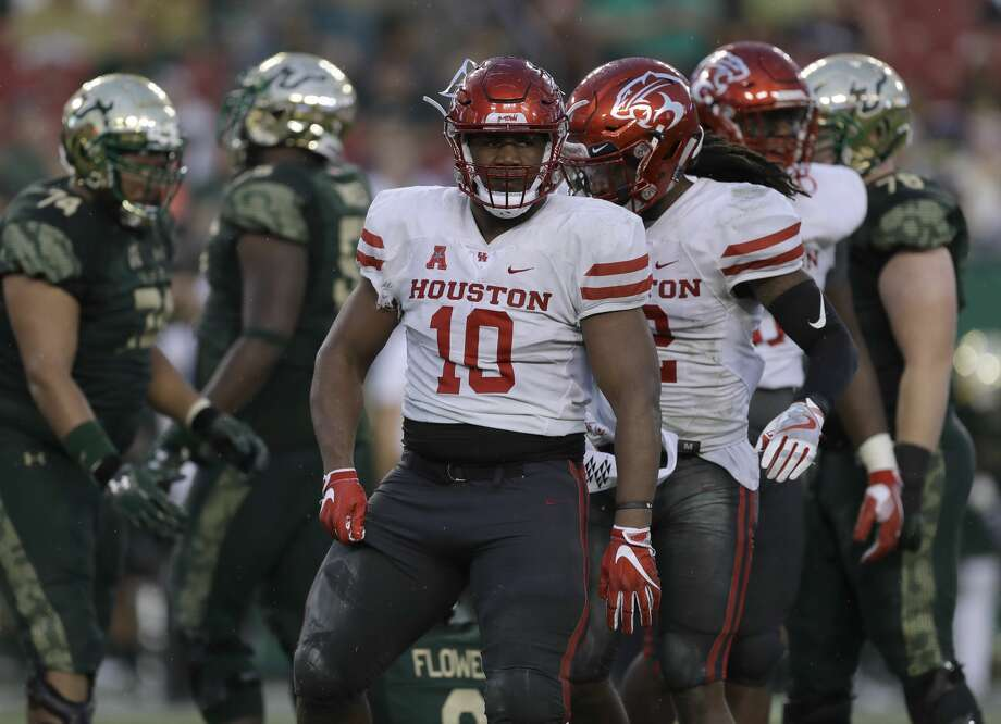Houston defensive tackle Ed Oliver (10) during the first half of an NCAA college football game against South Florida Saturday, Oct. 28, 2017, in Tampa, Fla. (AP Photo/Chris O'Meara) Photo: Chris O'Meara/Associated Press