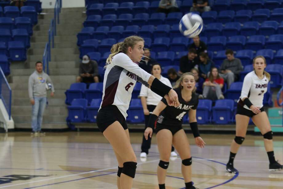 Leah McManus finished with a team-high 14 kills in the Dustdevils' 3-0 loss at Lubbock Christian in their final road game of 2017. Photo: Courtesy Of Lubbock Christian Athletics, File