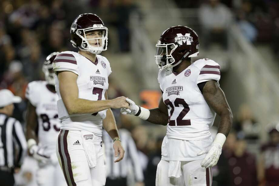 COLLEGE STATION, TX - OCTOBER 28:  Nick Fitzgerald #7 of the Mississippi State Bulldogs and Aeris Williams #22 react after a penalty in the second quarter against the Texas A&M Aggies at Kyle Field on October 28, 2017 in College Station, Texas.  (Photo by Tim Warner/Getty Images) Photo: Tim Warner/Getty Images