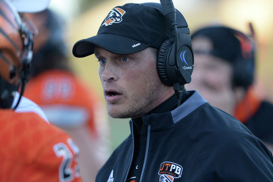 UTPB football head coach Justin Carrigan talks to a player during the game against Midwestern State on Oct. 28, 2017, at Grande Communications Stadium. James Durbin/Reporter-Telegram Photo: James Durbin