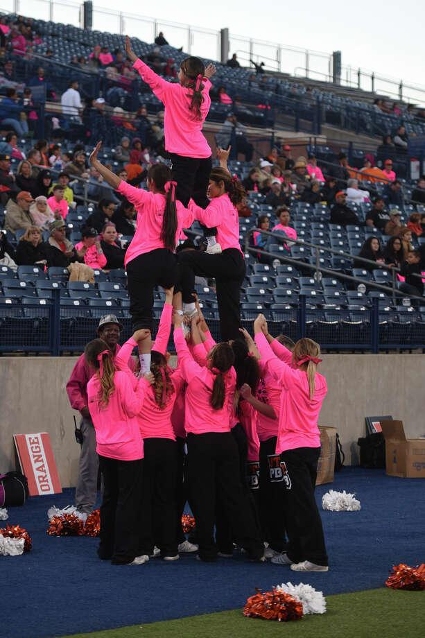 UTPB cheerleaders perform during the game against Midwestern State on Oct. 28, 2017, at Grande Communications Stadium. James Durbin/Reporter-Telegram Photo: James Durbin