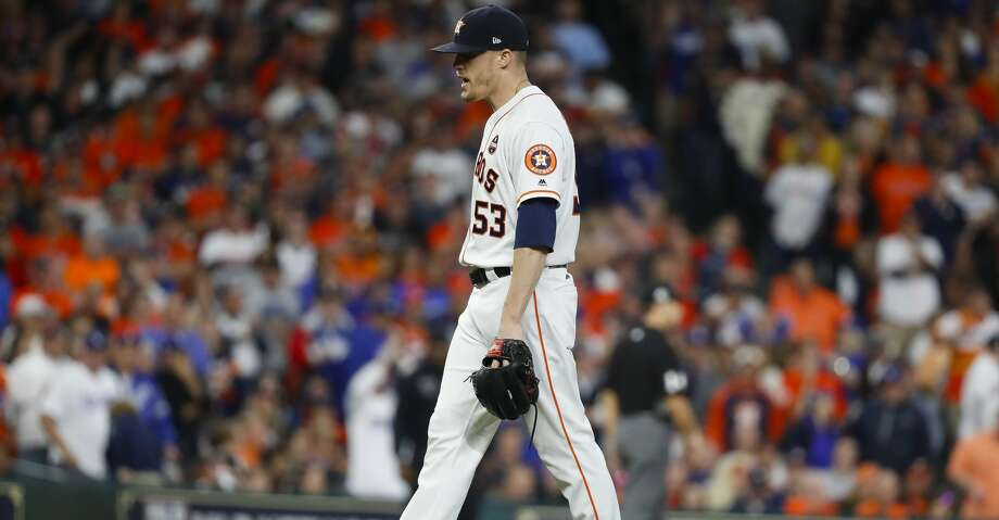 Houston Astros relief pitcher Ken Giles (53) reacts after surrendering a double to Los Angeles Dodgers first baseman Cody Bellinger (35) during the ninth inning of Game 4 of the World Series at Minute Maid Park on Saturday, Oct. 28, 2017, in Houston. ( Karen Warren  / Houston Chronicle ) Photo: Karen Warren/Houston Chronicle