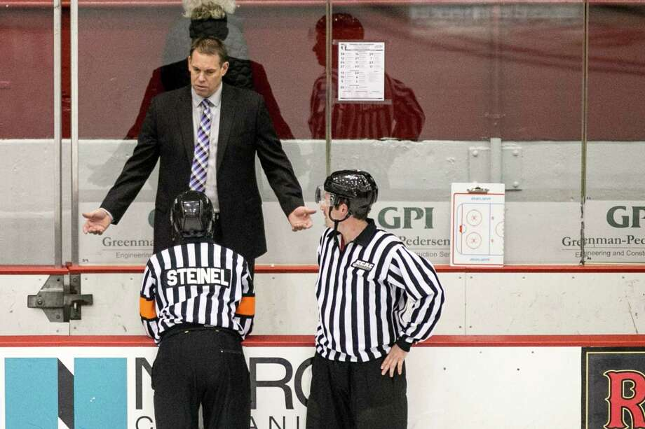 Union College Dutchmen head coach Rick Bennett not happy with a penality called at Houston Field House in Troy NY on October 28, 2017. (Photo: Robert Dungan, Special to the Times Union)  ORG XMIT: MER2017082023255053 Photo: Robert Dungan / Robert Dungan 2017
