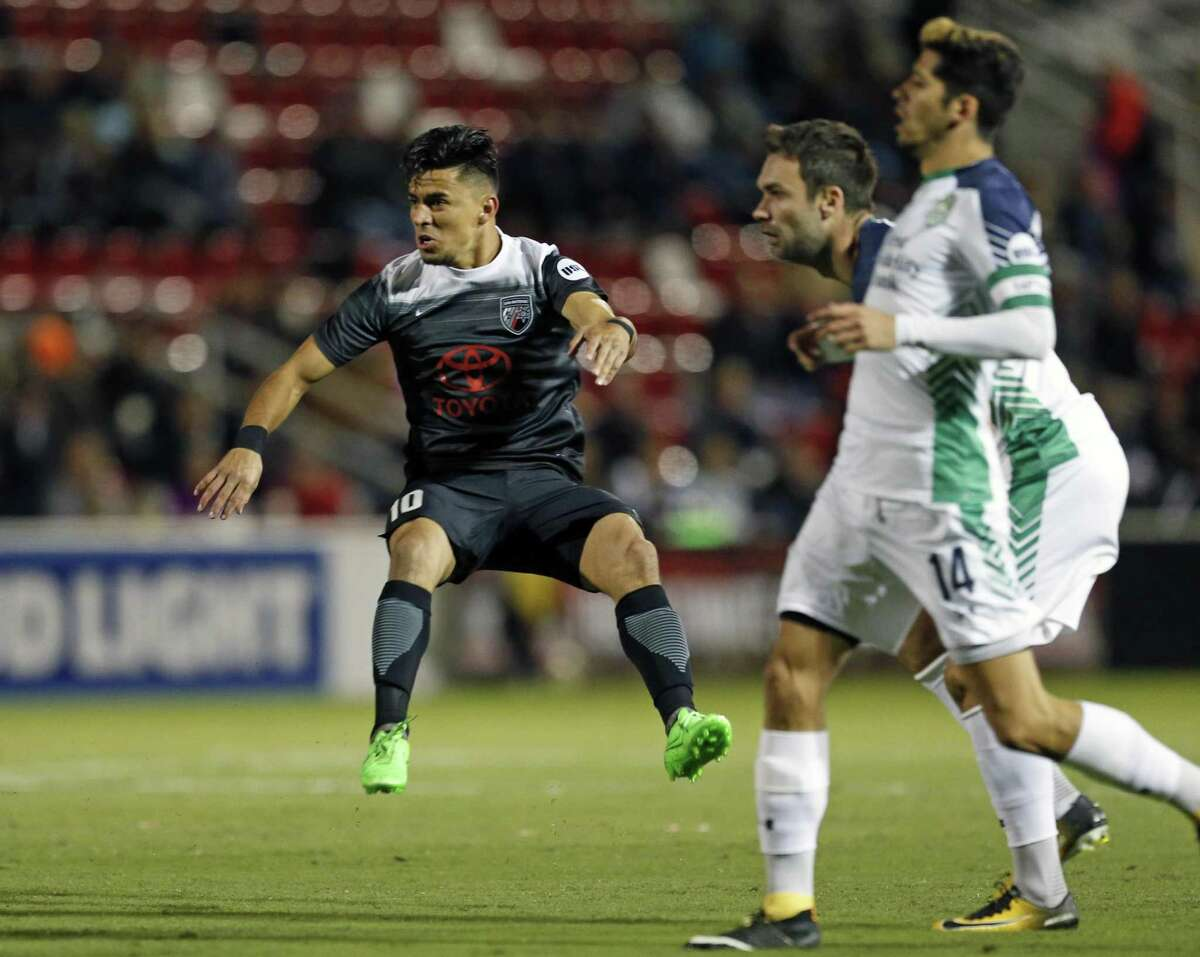 Cesar Elizondo of the San Antonio FC watches his first half goal from the Western Conference semifinal match of the United Soccer League Cup between San Antonio FC and Oklahoma City Energy FC at Toyota Field on Saturday, October 28,2017