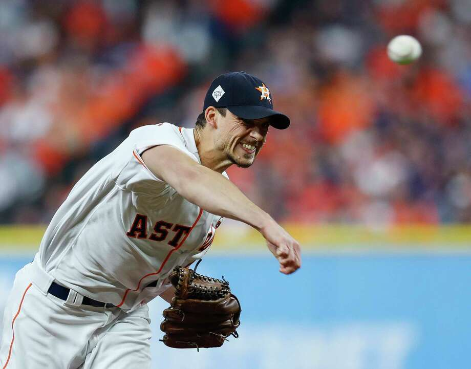 Houston Astros starting pitcher Charlie Morton (50) pitches during the first inning of Game 4 of the World Series at Minute Maid Park on Saturday, Oct. 28, 2017, in Houston.  ( Brett Coomer / Houston Chronicle ) Photo: Brett Coomer, Staff / © 2017 Houston Chronicle