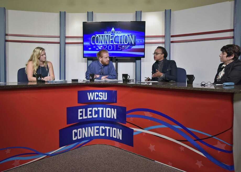 Students rehearse for the 2015 live Election Night coverage from Western Connecticut State University. From left, Hannah Stewart, anchor Rob Shaw, anchor Dr. D.L. Stephenson, professor, Communication & Media Arts, WCSU Dr. Leslie Lindenauer, professor, History, WCSU. Photo Credit: Peggy Stewart Photo: Contributed Photo / Peggy Stewart / Hearst Connecticut Media / The News-Times Contributed