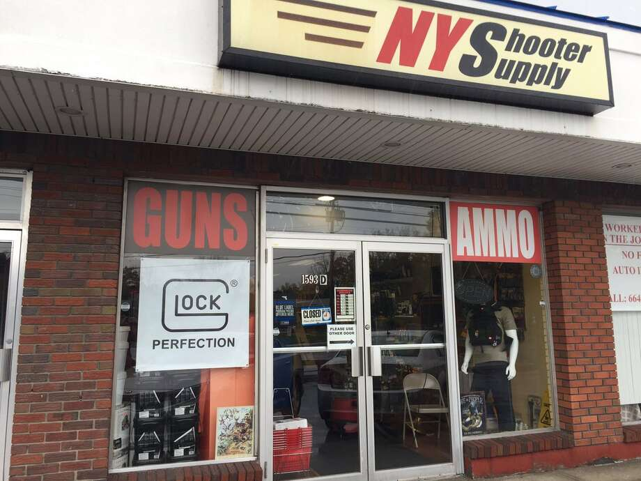 Colonie police said they would release information later Sunday about a possible burglary at this gun store at 1593 Central Avenue that happened in the early morning hours Oct. 29. 2017. (Paul Buckowski/Times Union)