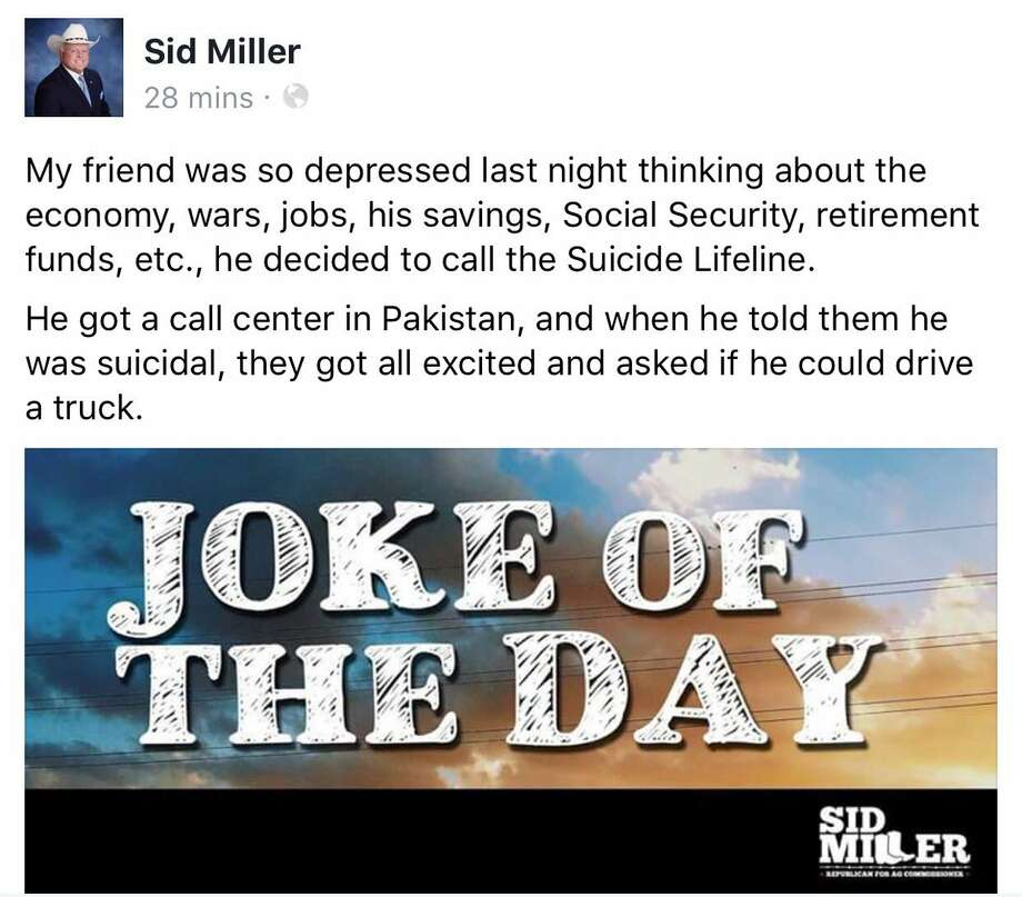 """Texas politician Sid Miller was criticized after he shared a racially insensitive """"joke of the day"""" that talked about suicide. Continue through the photos to see the other controversies involving Miller that have made headlines. Photo: Screenshot Taken By Bobby Blanchard"""