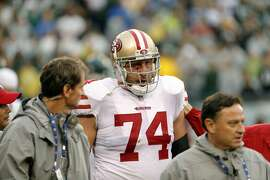 San Francisco 49ers' Joe Staley (74) walks off the field injured during the first half of an NFL football game against the Philadelphia Eagles, Sunday, Oct. 29, 2017, in Philadelphia,. (AP Photo/Chris Szagola)