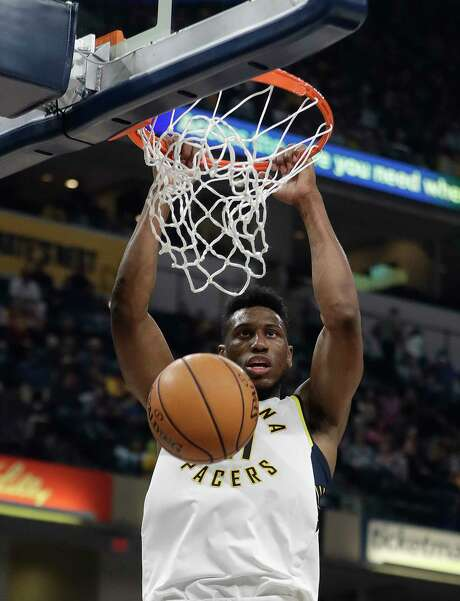 Indiana Pacers' Thaddeus Young dunks during the first half of an NBA basketball game against the San Antonio Spurs, Sunday, Oct. 29, 2017, in Indianapolis. (AP Photo/Darron Cummings) Photo: Darron Cummings, Associated Press / Copyright 2017 The Associated Press. All rights reserved.