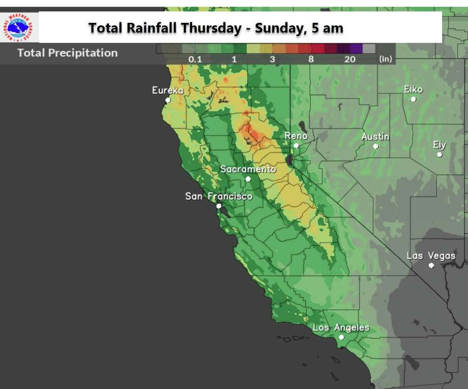 The National Weather Service expects 2-3 inches of rain in the higher elevations of the North Bay during a storm expected to hit Friday and Saturday. Photo: National Weather Service