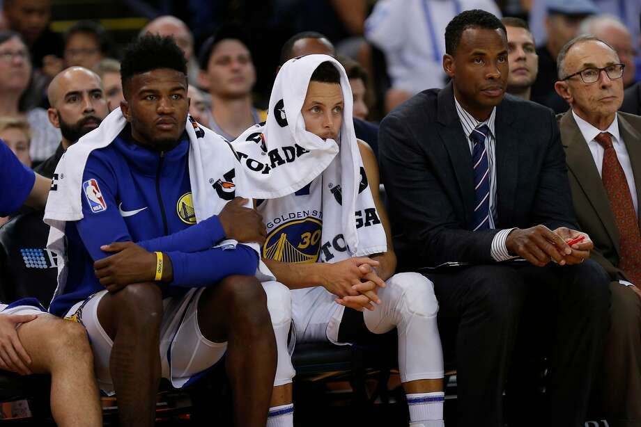 golden state warriors stephen curry and jordan bell left during the fourth quarter of