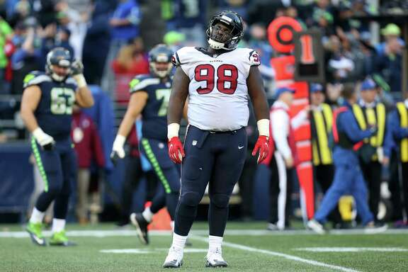 Houston Texans nose tackle D.J. Reader (98) reacts to the Seattle Seahawks scoring a touchdown with 21 seconds left in the game at CenturyLink Field Sunday, Oct. 29, 2017, in Seattle. The Seahawks won 41-38.