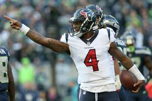 Houston Texans quarterback Deshaun Watson (4) celebrates after rushing for a first down during the second half of the game against the Seattle Seahawks at CenturyLink Field Sunday, Oct. 29, 2017, in Seattle. The Seahawks won 41-38.