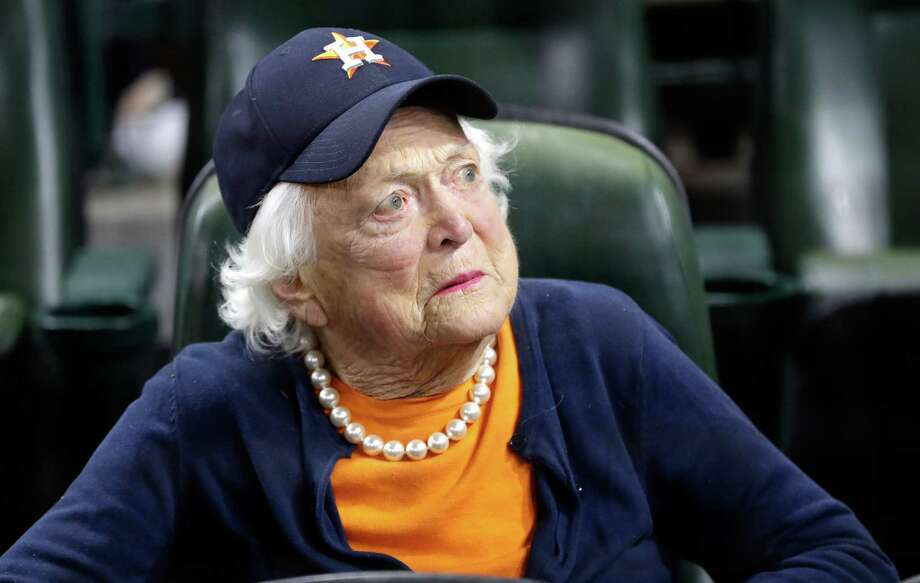 Former first lady Barbara Bush looks on before game five of the 2017 World Series between the Houston Astros and the Los Angeles Dodgers at Minute Maid Park on October 29, 2017 in Houston, Texas.  See more photos from the life and times of Barbara Bush... Photo: Pool, Getty Images / 2017 Getty Images