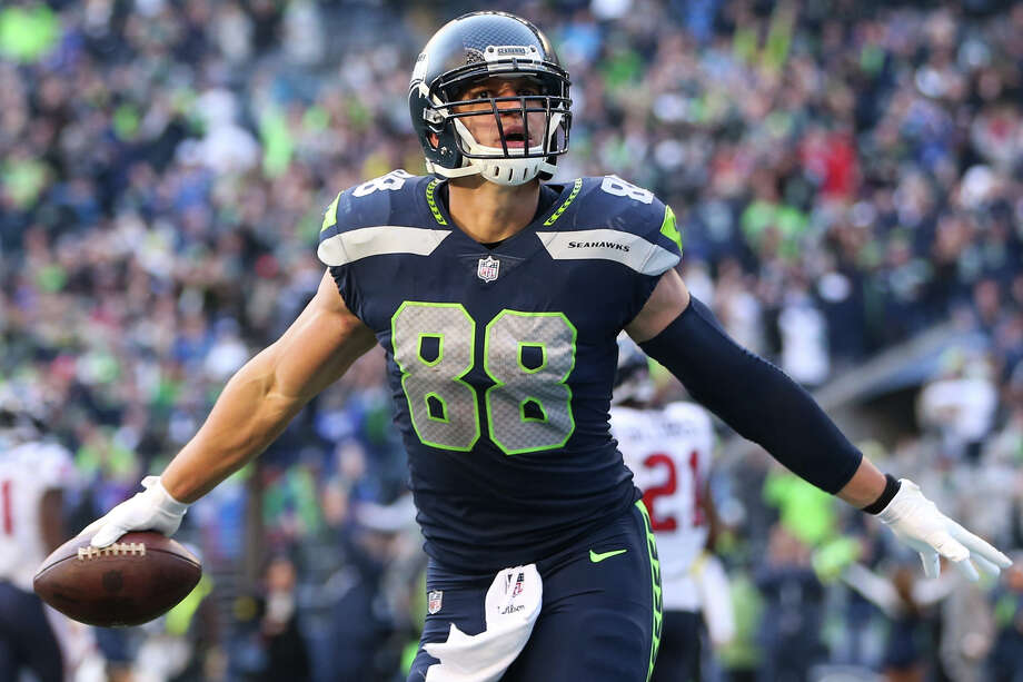 Seahawks tight end Jimmy Graham celebrates scoring the final touchdown of the game, securing Seattle's 41-38 win during the second half of an NFL game against the Houston Texans at CenturyLink Field on Sunday, Oct. 29, 2017. Photo: GRANT HINDSLEY, SEATTLEPI.COM / SEATTLEPI.COM