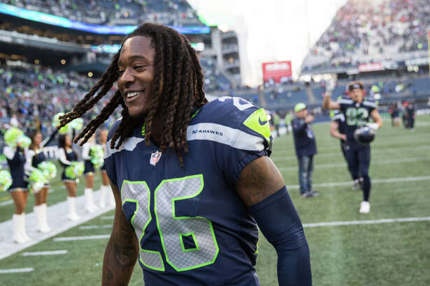 Seahawks corner back Shaquill Griffin smiles while heading to the locker room following Seattle's 41-38 win over the Texans at CenturyLink Field on Sunday, Oct. 29, 2017.