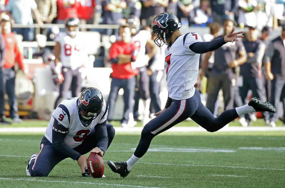 Houston Texans kicker Ka'imi Fairbairn kicks a field goal as Shane Lechler (9) holds in the second half of an NFL football game against the Seattle Seahawks, Sunday, Oct. 29, 2017, in Seattle. (AP Photo/Elaine Thompson) Photo: Elaine Thompson, Associated Press / Copyright 2017 The Associated Press. All rights reserved.