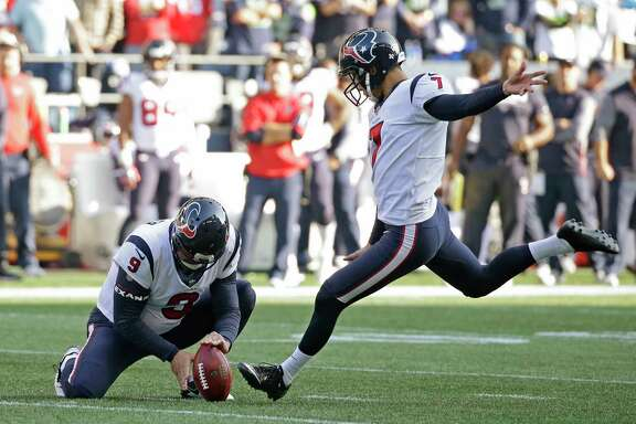 Houston Texans kicker Ka'imi Fairbairn kicks a field goal as Shane Lechler (9) holds in the second half of an NFL football game against the Seattle Seahawks, Sunday, Oct. 29, 2017, in Seattle. (AP Photo/Elaine Thompson)