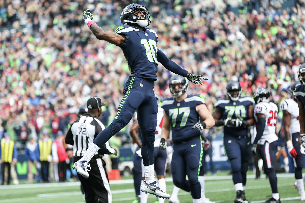 Seahawks wide receiver Paul Richardson celebrates his first touchdown of the game during the first half of an NFL game against the Texans at CenturyLink Field on Sunday, Oct. 29, 2017.