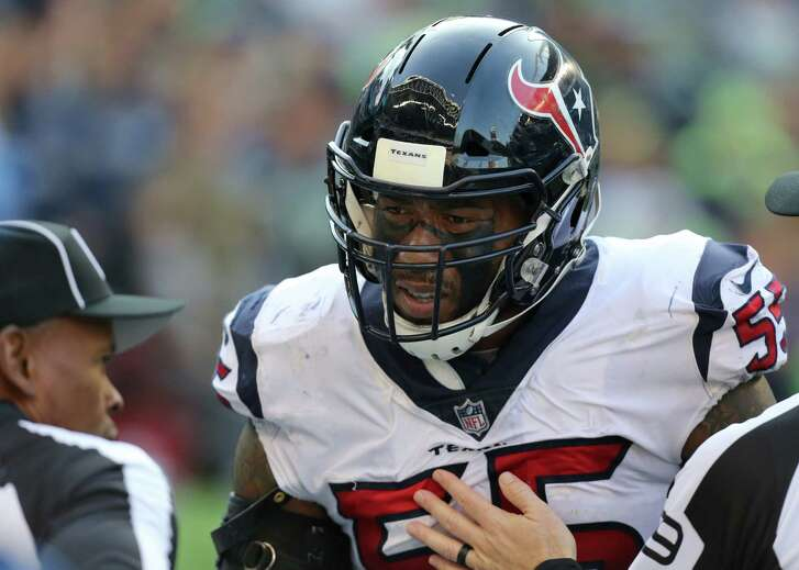 Houston Texans inside linebacker Benardrick McKinney (55) disagrees with a penalty thrown against him during the game against the Seattle Seahawks at CenturyLink Field Sunday, Oct. 29, 2017, in Seattle. The Seahawks won 41-38.