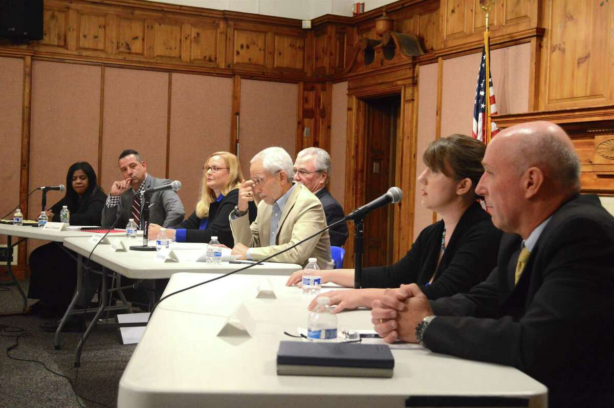 Board of Education canddiates at Sunday night's debate at Norwalk City Hall are, from left, Shirley Mosby, Marc D'Amelio, Barbara Meyer Mitchell, Bruce Kimmel, Thomas Cullen, Sarah Lemieux and Thomas Donaher.