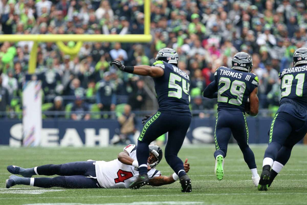 Seattle Seahawks free safety Earl Thomas (29) returns an interception 78 yard for a touchdown during the first half of the game against the Houston Texans at CenturyLink Field Sunday, Oct. 29, 2017, in Seattle. The Seahawks won 41-38.