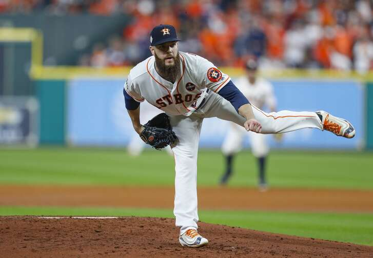 Houston Astros starting pitcher Dallas Keuchel (60) pitches during the third inning of Game 5 of the World Series at Minute Maid Park on Sunday, Oct. 29, 2017, in Houston.