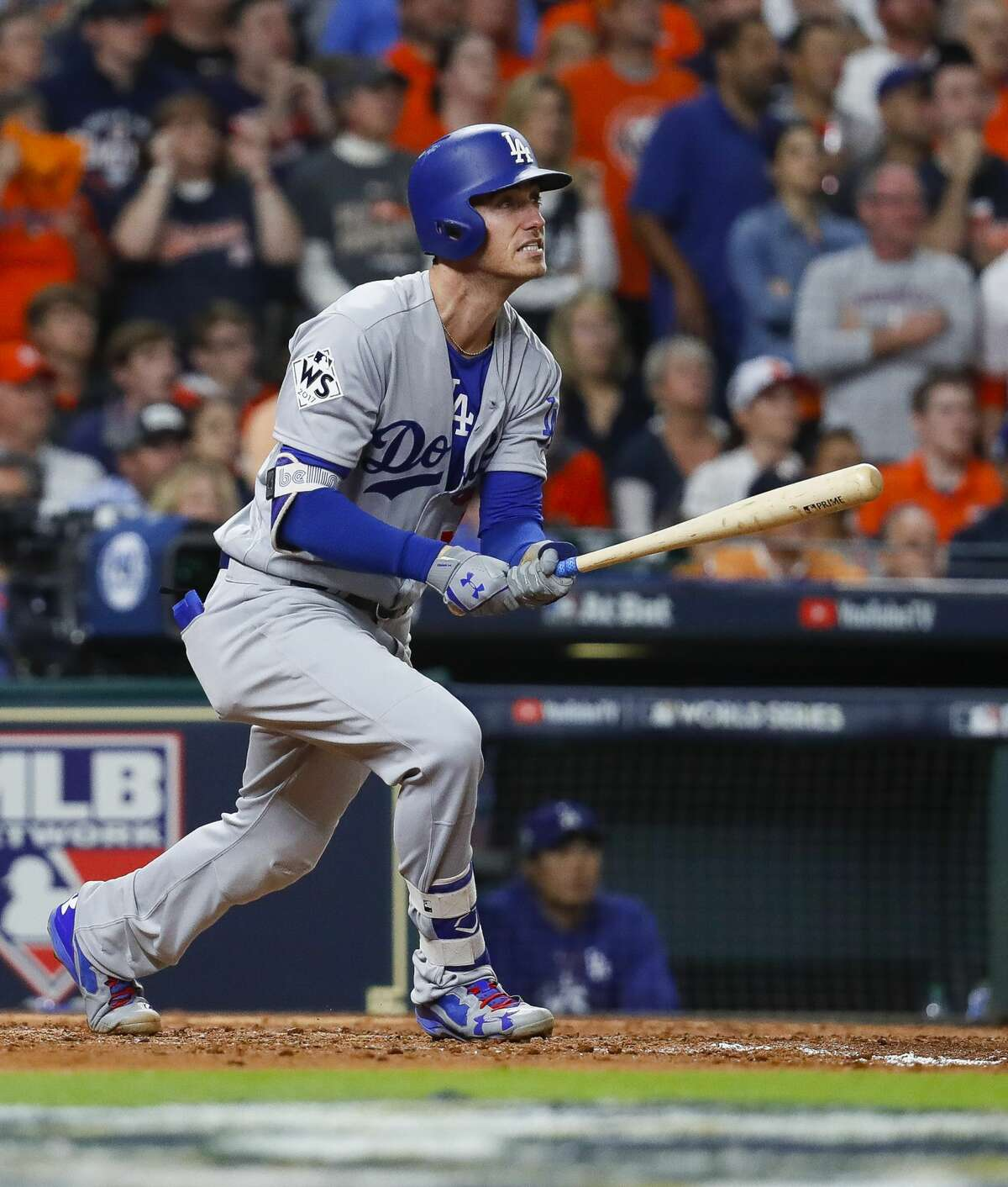 Los Angeles Dodgers first baseman Cody Bellinger (35) hits a three-run home run in the fifth inning of Game 5 of the World Series at Minute Maid Park on Sunday, Oct. 29, 2017, in Houston.