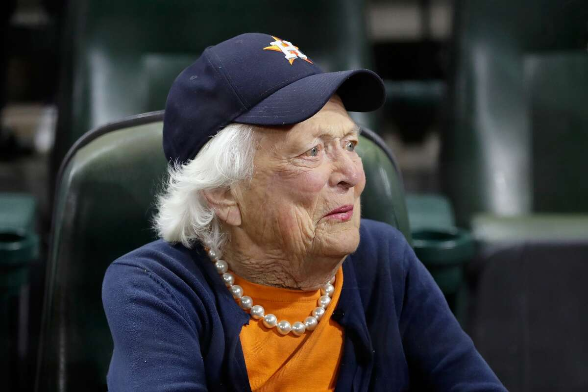 PHOTOS: A look at the various sporting events Barbara Bush attended Former first lady Barbara Bush looks on before game five of the 2017 World Series between the Houston Astros and the Los Angeles Dodgers at Minute Maid Park on October 29, 2017 in Houston, Texas. (Photo by Pool/Getty Images) Browse through the photos above for a look at some of the memorable sporting events in which Barbara Bush was in attendance.