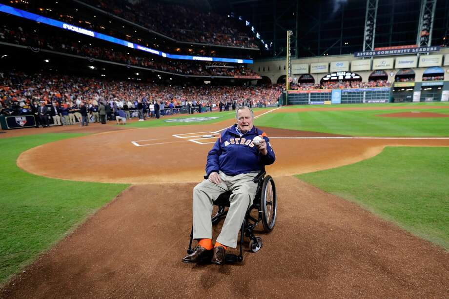 Former President George H.W. Bush took part in pregame festivities before Game 5 of the World Series Sunday night at Minute Maid Park. Photo: Pool/Getty Images