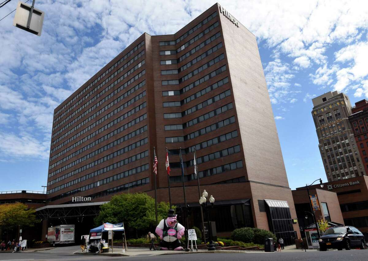 Exterior of the Hilton Hotel on Friday, Oct. 13, 2017, in Albany, N.Y. Renovation of the Hilton, previously a Crowne Plaza hotel, was provided a 30-year payment-in-lieu-of-taxes agreement by the City of Albany IDA. (Will Waldron/Times Union)