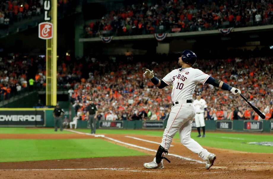 Houston Astros' Yuli Gurriel watches his three-run home run off Los Angeles Dodgers starting pitcher Clayton Kershaw during the fourth inning of Game 5 of baseball's World Series Sunday, Oct. 29, 2017, in Houston. (AP Photo/Matt Slocum) ORG XMIT: WS374 Photo: Matt Slocum / Copyright 2017 The Associated Press. All rights reserved.