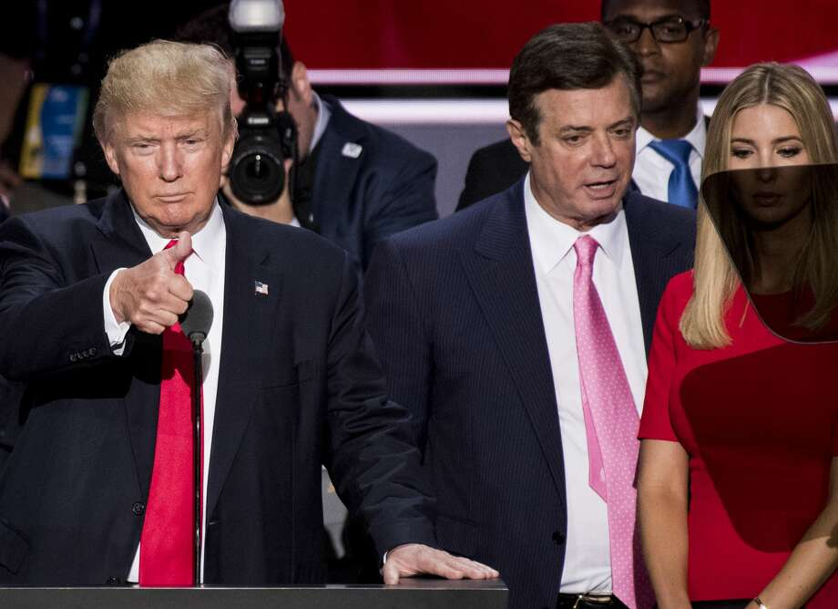 UNITED STATES - JULY 12: GOP nominee Donald Trump, flanked from left by campaign manager Paul Manafort, and daughter Ivanka Trump, checks the podium early Thursday afternoon in preparation for accepting the GOP nomination to be President at the 2016 Republican National Convention in Cleveland, Ohio on Thursday July 21, 2016. (File Photo By Bill Clark/CQ Roll Call) Photo: Bill Clark/CQ-Roll Call, Inc.
