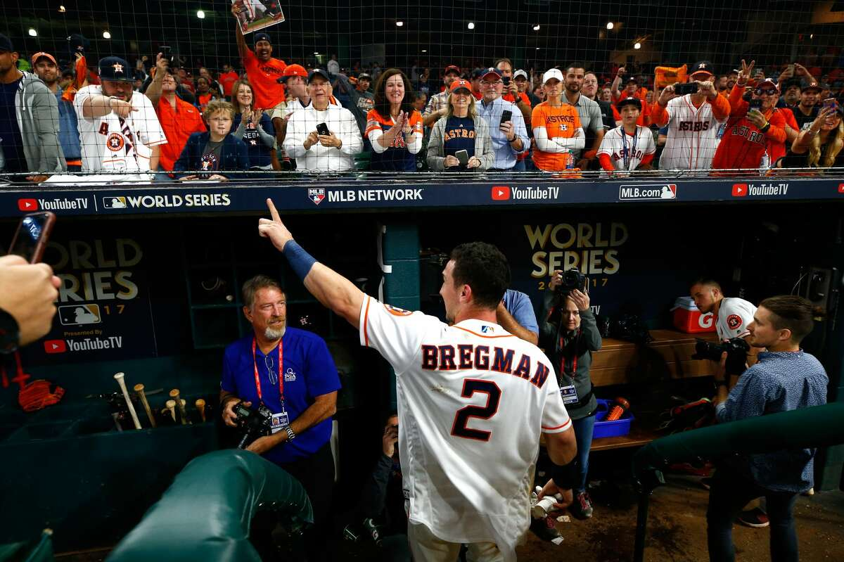 Alex Bregman #2 of the Houston Astros celebrates after hitting the game-winning single during the tenth inning to defeat the Los Angeles Dodgers in game five of the 2017 World Series at Minute Maid Park on October 30, 2017 in Houston, Texas. The Astros defeated the Dodgers 13-12.