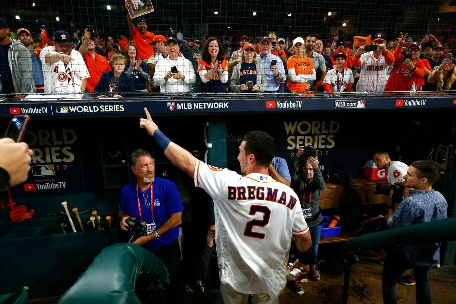 Alex Bregman #2 of the Houston Astros celebrates after hitting the game-winning single during the tenth inning to defeat the Los Angeles Dodgers in game five of the 2017 World Series at Minute Maid Park on October 30, 2017 in Houston, Texas. The Astros defeated the Dodgers 13-12. Photo: Jamie Squire/Getty Images