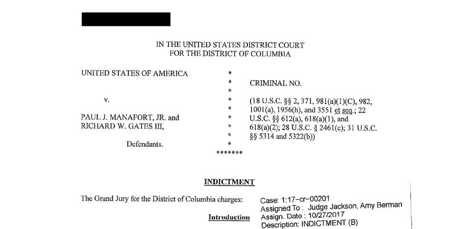 Key portions of the indictment against President Donald Trump's former campaign chairman, Paul Manafort, and a former business associate, Rick Gates.Read the full indictment here. Photo: DOJ