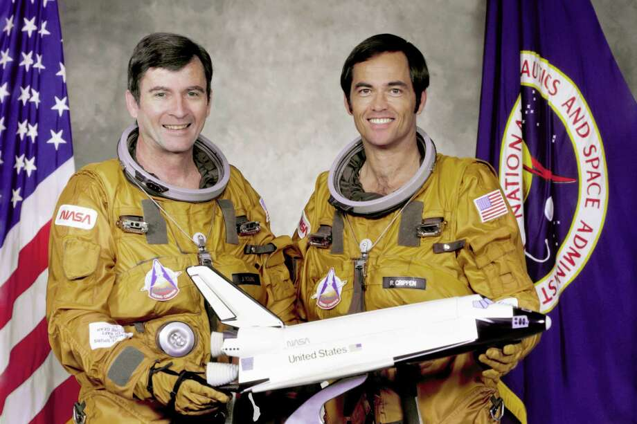 Commander John W. Young, left, and Pilot Robert L. Crippen, right, are pictured. Crippen  piloted the first orbital test flight of the Shuttle Columbia, the first true manned spaceship in 1981. Photo: NASA / NASA