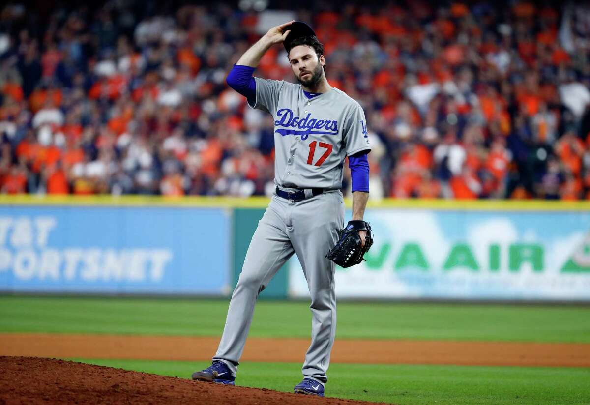 Brandon Morrow of the Los Angeles Dodgers looks on during the seventh inning against the Houston Astros in Game 5 of the 2017 World Series at Minute Maid Park on Oct. 29, 2017.