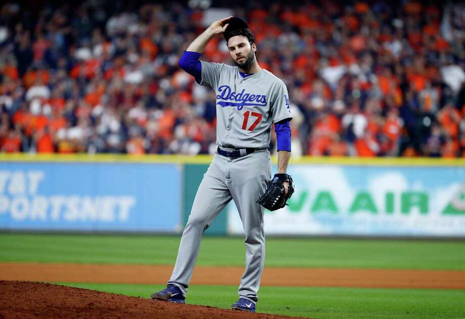 Brandon Morrow of the Los Angeles Dodgers looks on during the seventh inning against the Houston Astros in Game 5 of the 2017 World Series at Minute Maid Park on Oct. 29, 2017. Photo: Jamie Squire /Getty Images / 2017 Getty Images