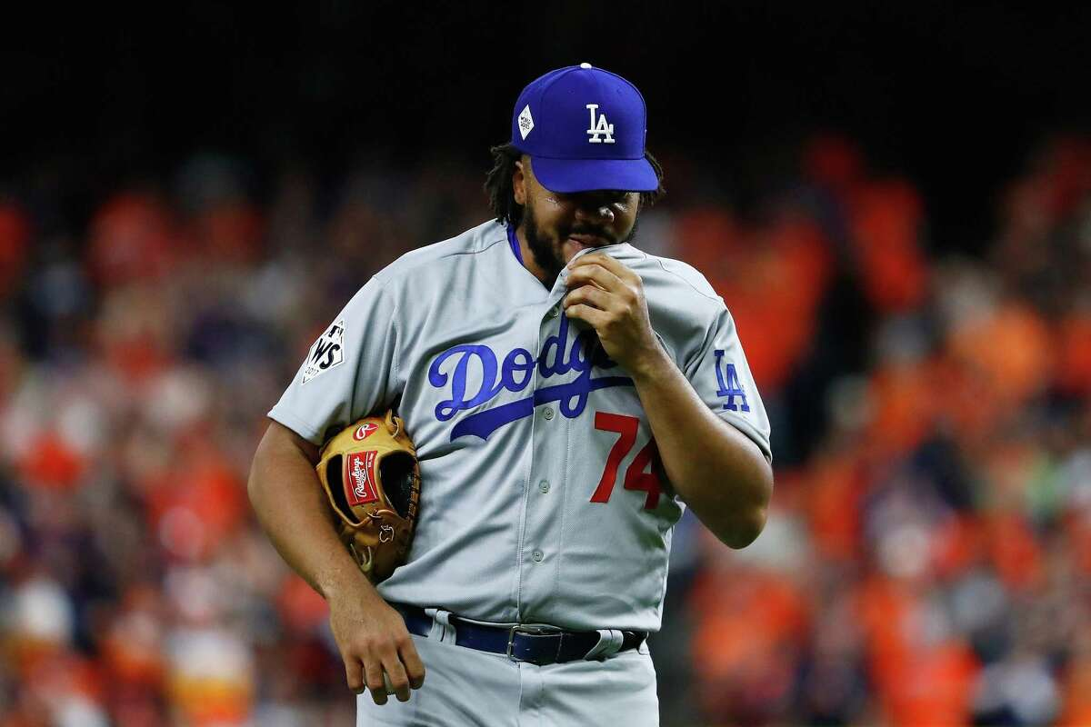 Kenley Jansen of the Los Angeles Dodgers looks on during the tenth inning against the Houston Astros in Game 5 of the 2017 World Series at Minute Maid Park on Oct. 29, 2017.