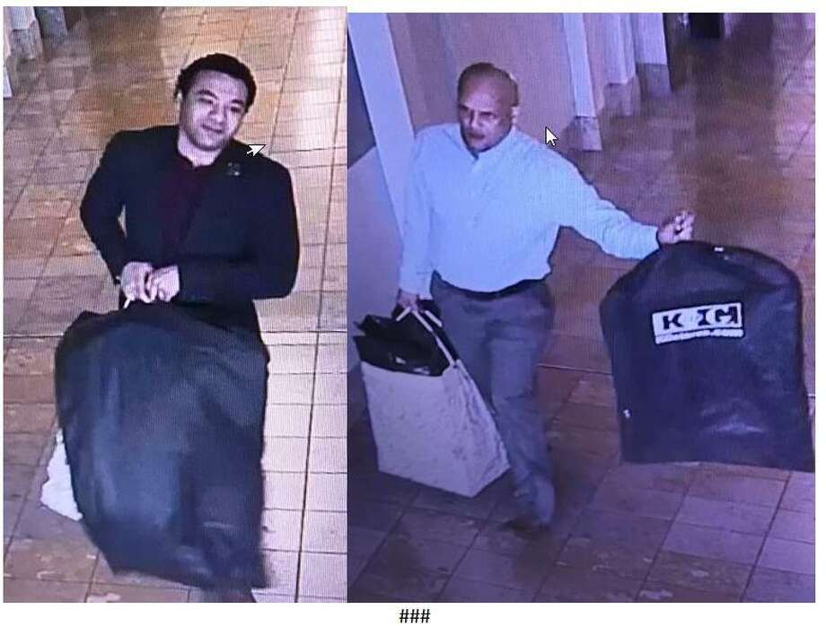 Milford Police Department are looking to identify the two men pictured here, whom they believe are part of a crew that stole numerous items from Hollister and Abercrombie & Fitch, 1201 Boston Post Road o Friday, Oct. 27.Photo courtesy of the Milford Police Department. Photo: Contributed / Contributed