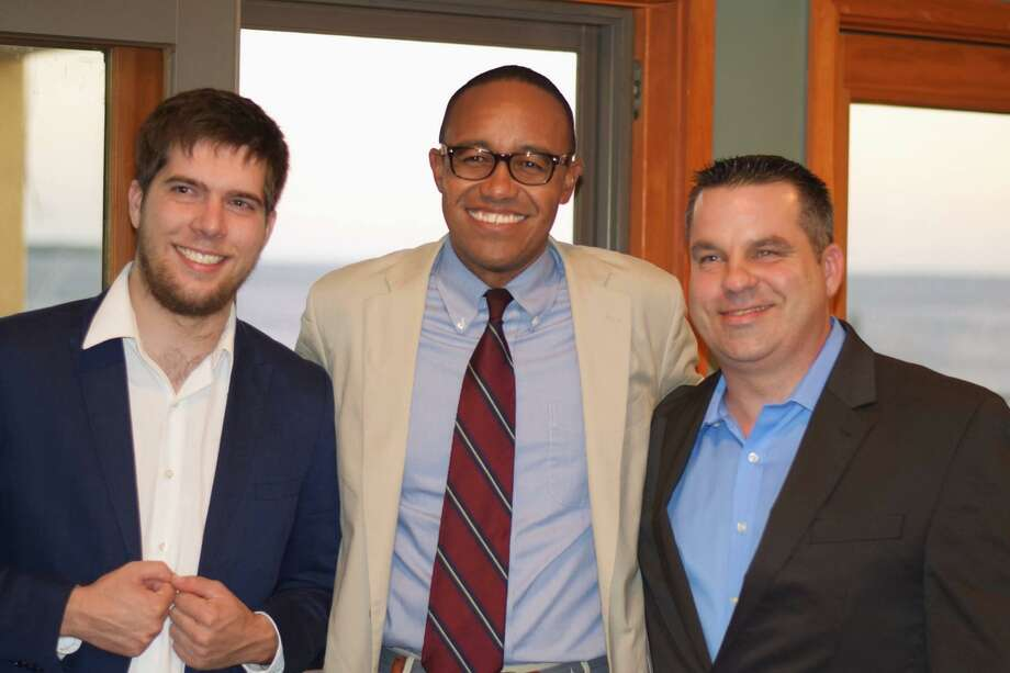 Joshua Van Hoesen, left, Jonathan Wharton and John Carlson. VanHoesenand Carlson are the GOP's two nominees for Alders. Photo: Photo Courtesy Of John Carlson /