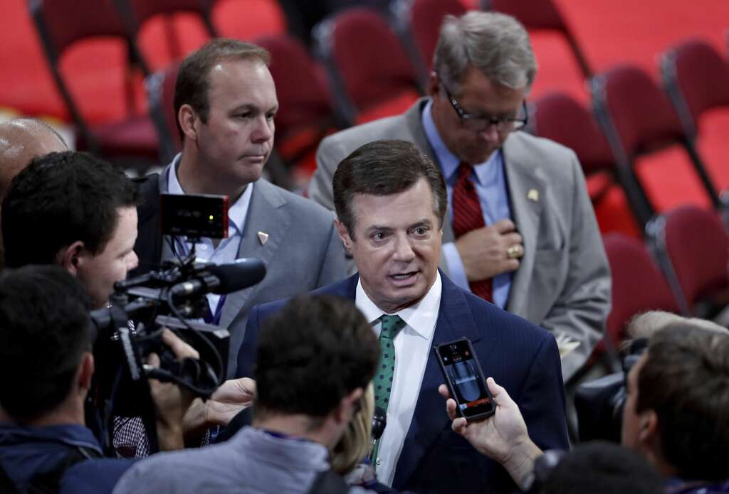 <p><b>2006:</b> Paul Manafort and Rick Gates (left) begin work as consultants for the Party of Regions, a pro-Russian political party in Ukraine led by Victor Yanukovych, the country's former prime minister. Manafort is</p>