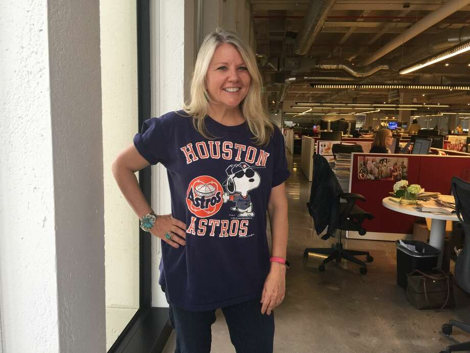 Chronicle Features Editor Melissa Aguilar wears her 1988 Astros T-shirt. Photo: J.R. Gonzales