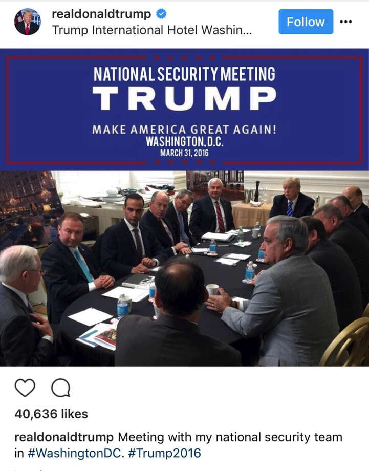 """George Papadopoulos, described as """"an adviser"""" to President Donald Trump, is seated third from left in this file photo from Trump's Twitter page."""