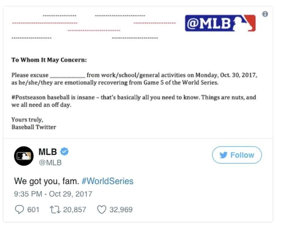 MLB issued a template for a note people who stayed up watching the World Series could use to get out of work or school. Photo: Twitter Screen Grab