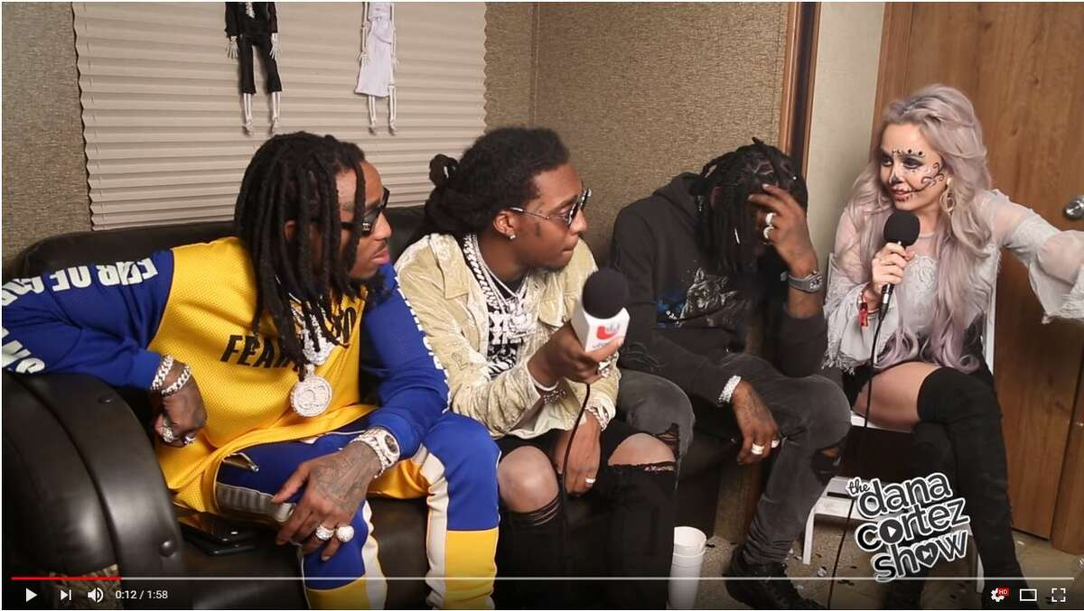 San Antonio radio host Dana Cortez speaks with Migos before the group abruptly ended the interview.
