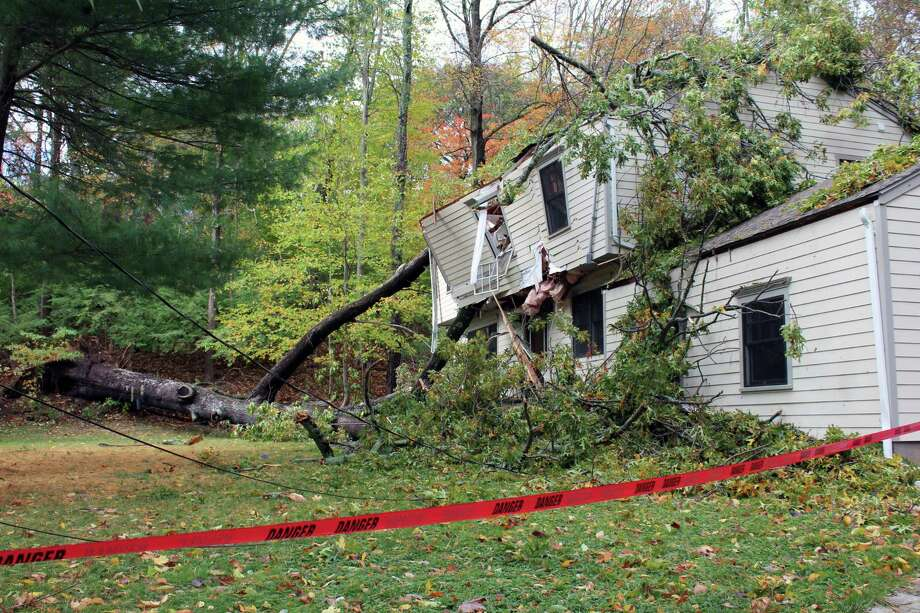 The Marion Road home on which a tree fell during the heavy rain and wind on Oct. 29, 2017 in Westport, Conn. Photo: Justin Papp / Hearst Connecticut Media / Westport News