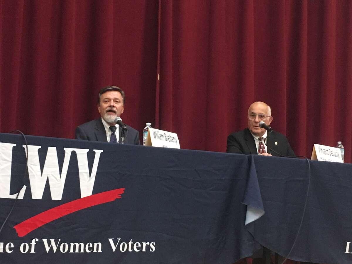 Democrat Bill Breheny, left, and Republican incumbent Vincent DeLucia are running for town supervisor in Malta.